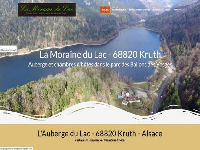 """Création et mise en ligne d'un nouveau site Internet + prestations vidéos aériennes et de présentation pour mon client L'Auberge - Chambres d'Hôtes """"La Moraine du Lac"""" à Kruth 68820"""
