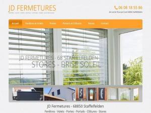 Création d'un site web vitrine pour mon client JD Fermetures spécialisé dans la fermeture (portes, portails, fenêtres,..) et établi à 68850 Staffelfelden près de Wittelsheim.