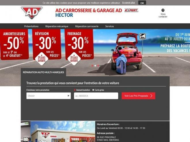 Hébergement et suivi mises à jour pour le site de mon client Garage Hector passé sous l'égide AD CARROSSERIE & GARAGE AD EXPERT situé au 86 Rue principale à 57660 VAHL EBERSING près de Saint Avold.