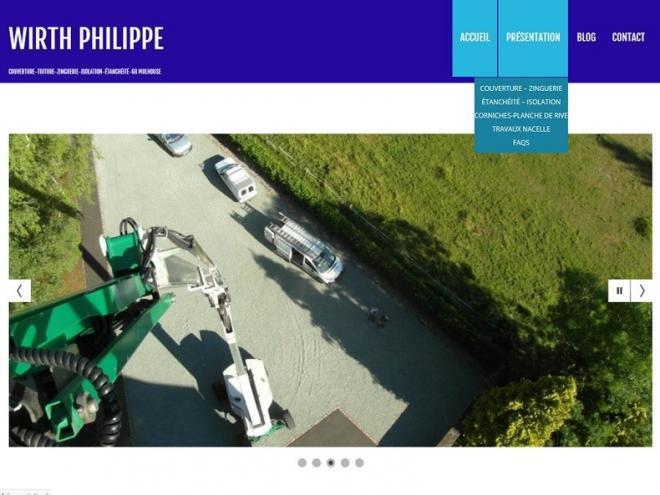 Création et mise en ligne d'un nouveau site Internet vitrine pour mon client Philippe Wirth spécialisé dans les travaux de toiture notamment en terme de couverture, zinguerie, isolation et d'étanchéité idéalement situé à 68350 Brunstatt - Didenheim aux portes de Mulhouse.