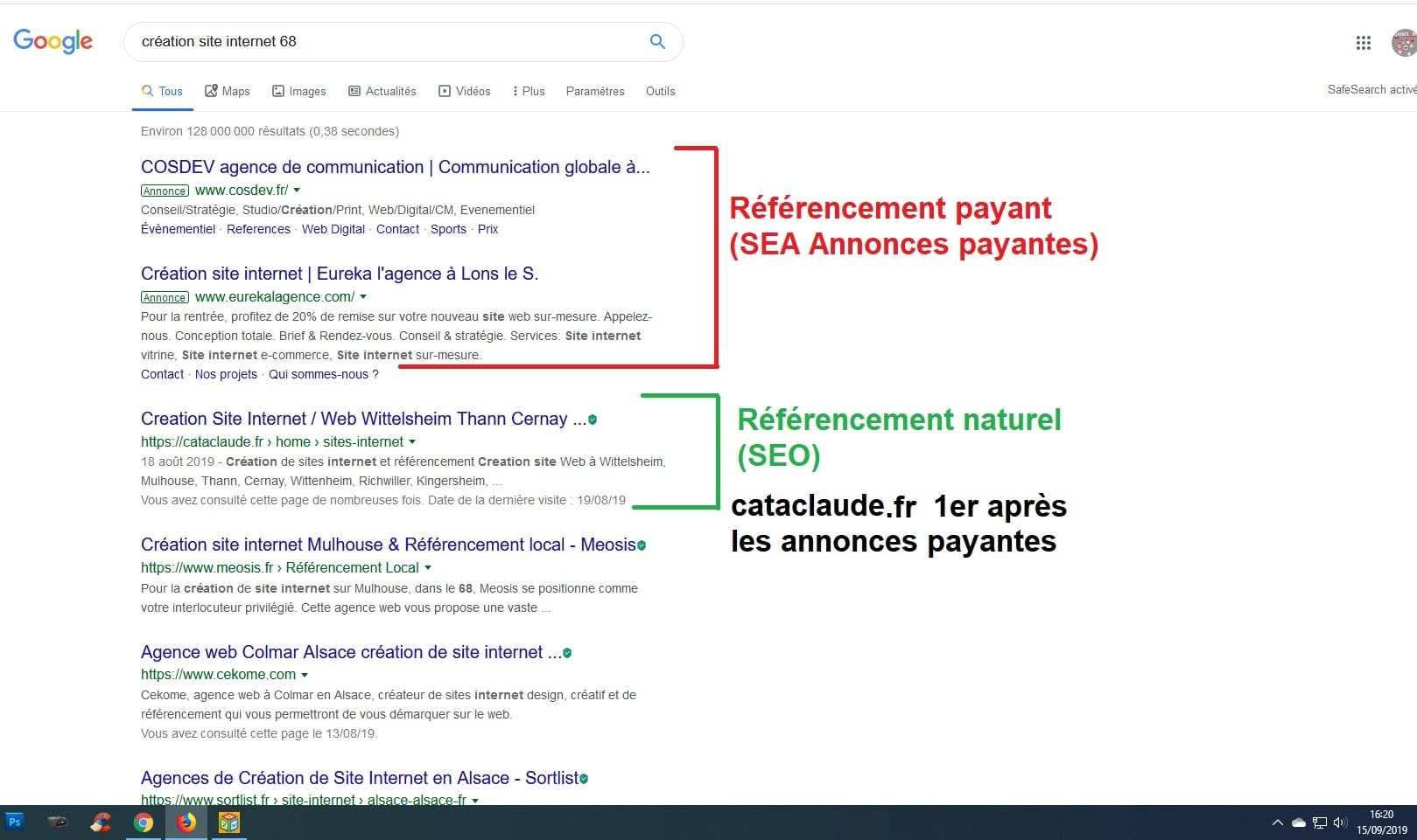 Création et référencement naturel pour un bon positionnement sur la 1ère page de Google