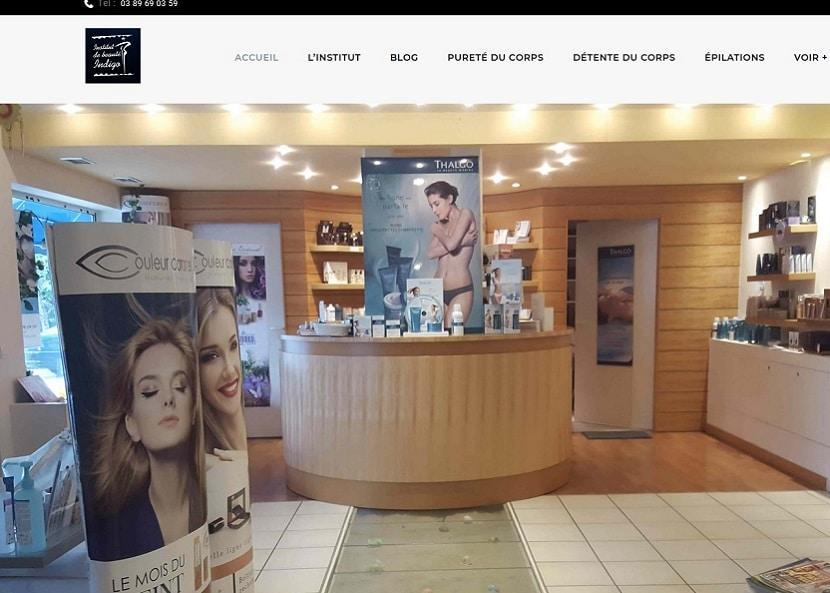Une nouvelle création site Internet pour Institut de beauté Indigo à 68128 Village-Neuf près de (68) Saint Louis en venant de Mulhouse ou Bâle en Suisse
