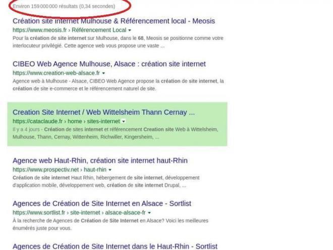 Positionnement site Internet en 1ère page sur Google Cataclaude 68 Wittelsheim