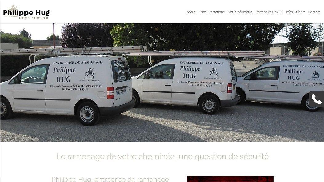 Site Internet vitrine Ramonage Hug 68 Pulversheim près d'Ensisheim Thann Cernay Mulhouse