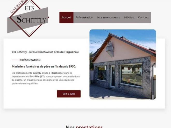 Création et mise en ligne d'unouveau site web pour les établissements Schittly Marbrier funéraire situé à 67 Bischwiller non loin de Haguenau (Bas-Rhin) Alsace