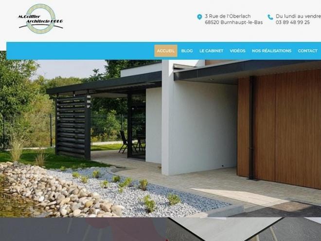 Creation avec mise en ligne d'un nouveau site Internet vitrine pour mon client l'architecte DPLG Mickael Coiffier etabli à 68 Burnhaupt Le Bas entre Belfort et Mulhouse Colmar ou entre Thann, Cernay et Altkirch