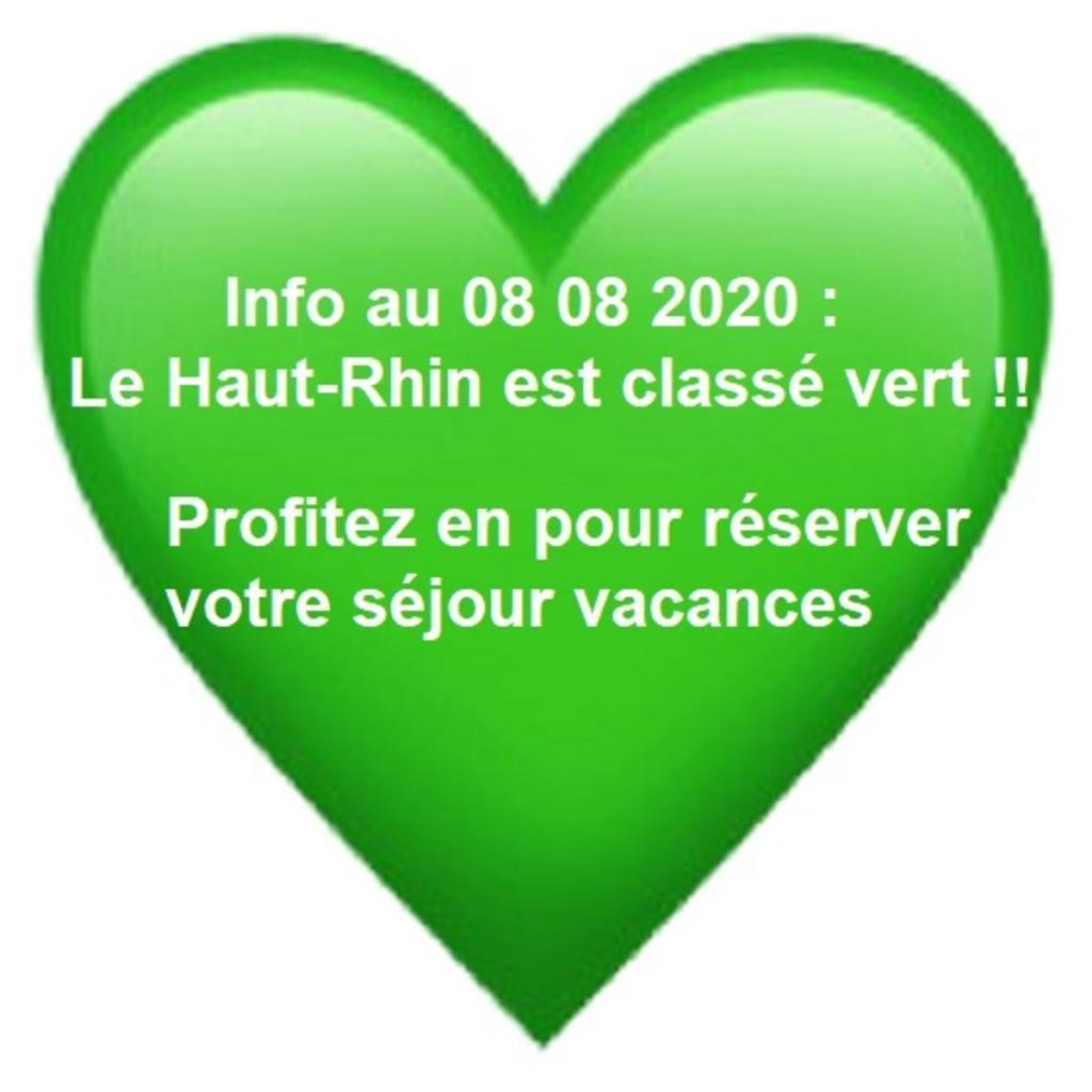 Cataclaude Info clients gites. Le haut-Rhin Alsace déclaré en vert pour le tourismeau 08 08 2020