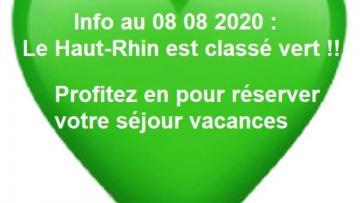 08 08 2020 : Le Haut-Rhin en vert ! L'occasion de réserver vos vacances en Alsace