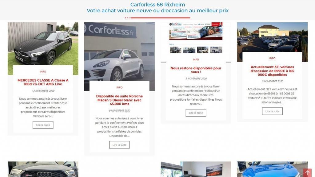 Insertion d'une nouvelle interface ou blog d'actualités sur le site Internet déjà existant de Carforless, mandataire automobile ou votre voiture au meilleur prix depuis leur concession située à 68 Rixheim près de Mulhouse Alsace mais également avec une possibilité d'achat en ligne.