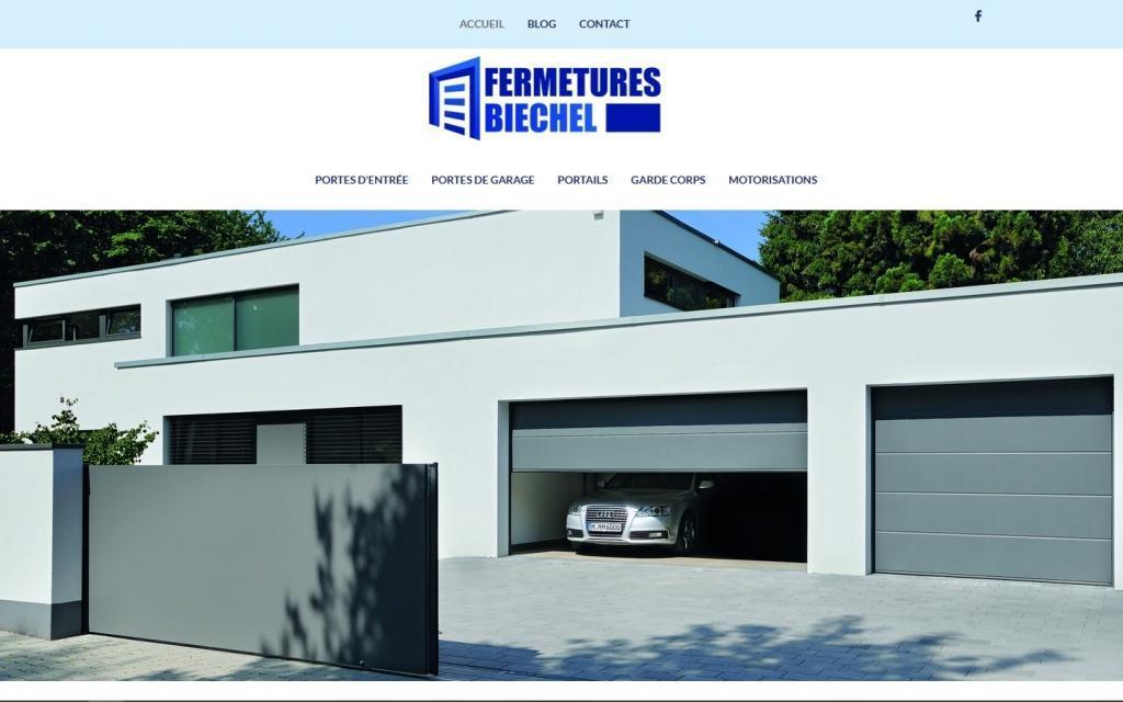 Création et mise en ligne nouveau site Internet pour Fermetures Biechel, portes, portails, motorisations portails à 67 Kurtzenhouse entre Strasbourg et Haguenau