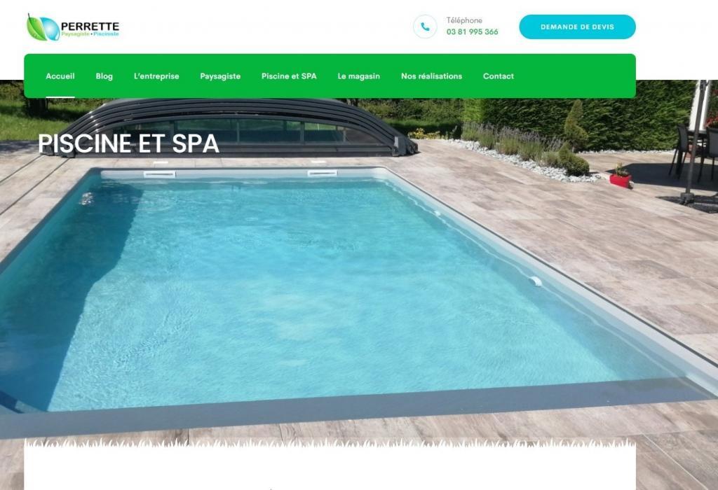 Création et mise en ligne d'un nouveau site Internet pour l'entreprise Perrette paysagiste Pisciniste à 25 Taillecourt entre 90 Belfort et 25 Montbéliard