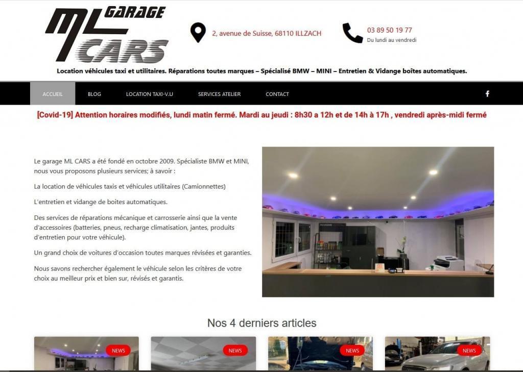 Refonte complète du site Internet vitrine pour Garage ML Cars à 68 Illzach près de Mulhouse et Sausheim