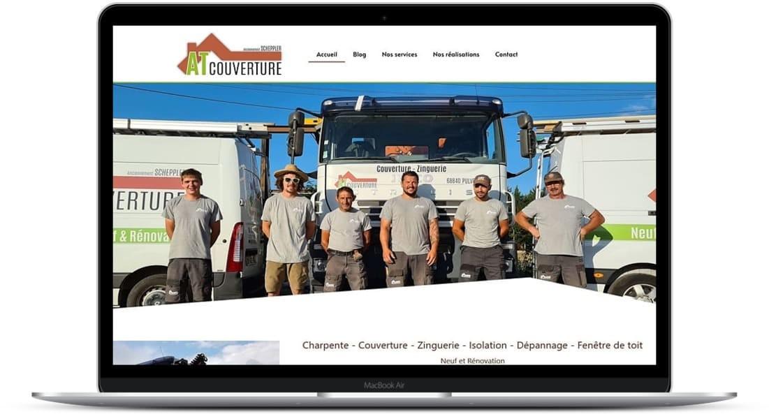 Création de site Internet : Cataclaude 68 Wittelsheim - Alsace Suite à une réelle évolution des besoins et services Refonte - référencement SEO site Web Pour AT Couverture - 68 Pulversheim