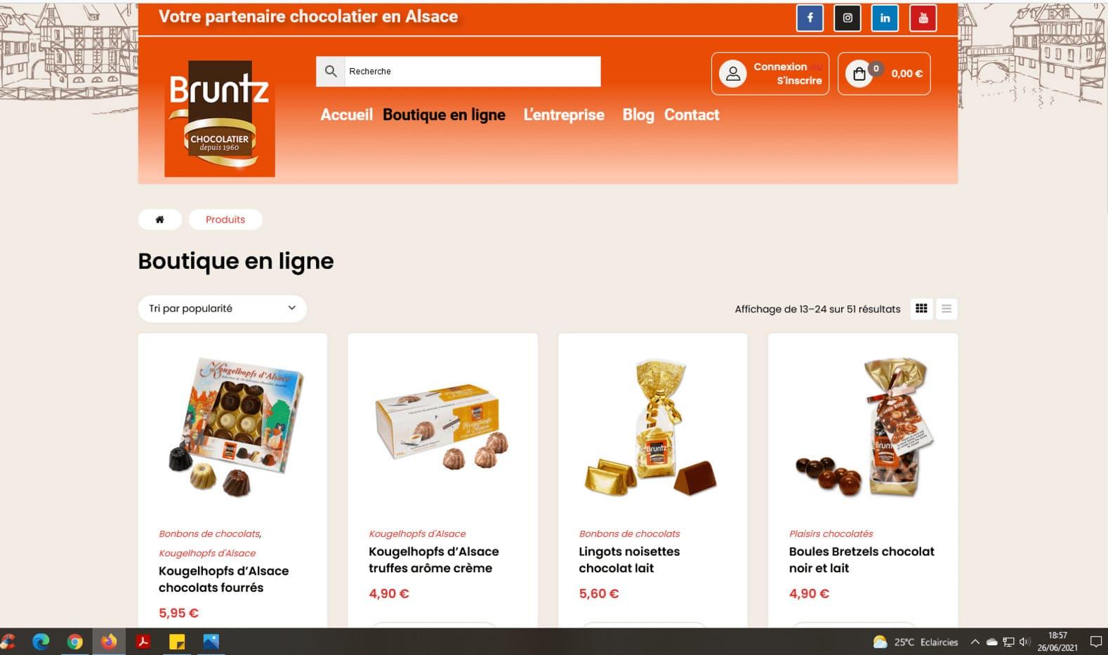 Cataclaude, Création site Internet Wittelsheim entre 68 Mulhouse, Colmar, Thann pour le Nouveau site Internet e-commerce de la chocolaterie Bruntz à 68 Kingersheim près de Richwiller
